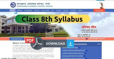 JAC Class 8th Syllabus 2022